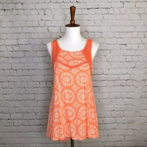 Miami Coral and White Lace Geometric Print Top